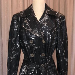 NWT Anthracite Snakeskin Print Trench Coat